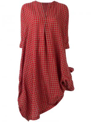 Платье с V-образным вырезом в клетку Daniela Gregis. Цвет: красный