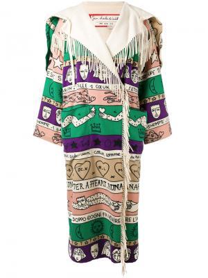 Свободное пальто с узором Jc De Castelbajac Vintage. Цвет: телесный