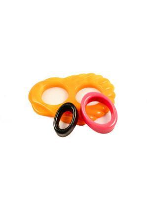 Пряжка Волшебная пуговица Ракушка и кольцо для шарфа madam Пряжкина. Цвет: черный, желтый, светло-коралловый