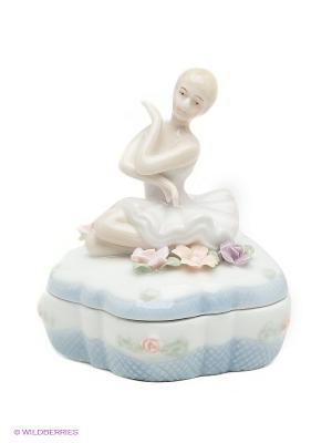 Шкатулка Балерина Pavone. Цвет: голубой, молочный
