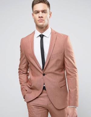 Selected Homme Пиджак зауженного кроя. Цвет: розовый