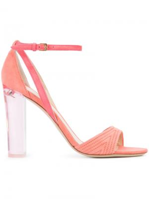 Босоножки на прозрачном каблуке Monique Lhuillier. Цвет: розовый и фиолетовый