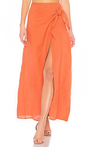Макси юбка с запахом 529 LPA. Цвет: тёмно-оранжевый