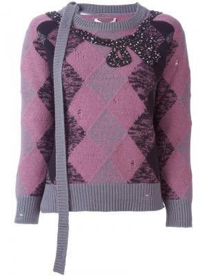 Декорированный джемпер с узором аргайл Marc Jacobs. Цвет: розовый и фиолетовый