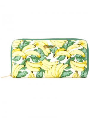 Кошелек с принтом бананов Muveil. Цвет: белый