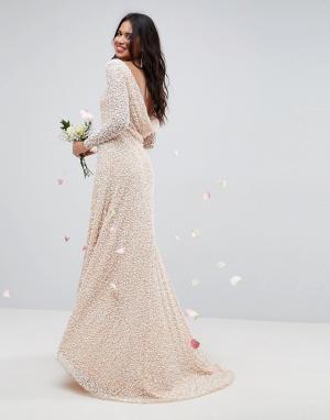 ASOS Платье макси с длинными рукавами и декоративной отделкой BRIDAL. Цвет: розовый