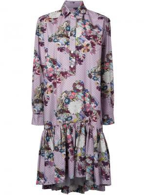 Платье с цветочным принтом Antonio Marras. Цвет: розовый и фиолетовый