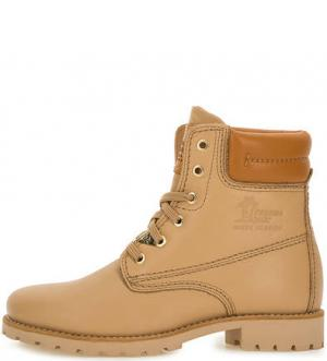 Демисезонные ботинки из натуральной кожи Panama Jack. Цвет: бежевый