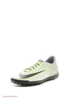 Бутсы MERCURIALX VORTEX III TF Nike. Цвет: салатовый, серый, черный