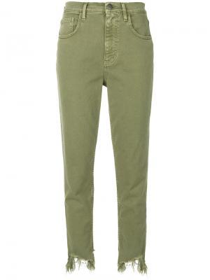 Джинсы с потертым подолом Mimi Mih Jeans. Цвет: зелёный