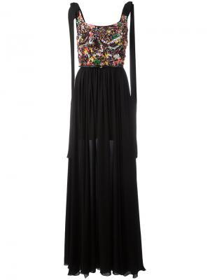 Платье с плиссировкой Elie Saab. Цвет: чёрный