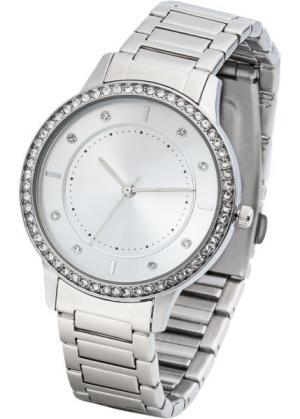 Металлические часы со стразами (серебристый/серебристый) bonprix. Цвет: серебристый/серебристый
