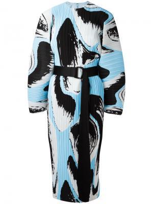 Платье с поясом и складками Solace. Цвет: синий