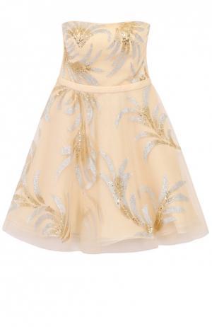 Приталенное платье-бюстье с декоративной отделкой Basix Black Label. Цвет: светло-бежевый