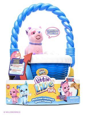 Розовый щенок Little Live Pets в корзинке Moose. Цвет: розовый, синий