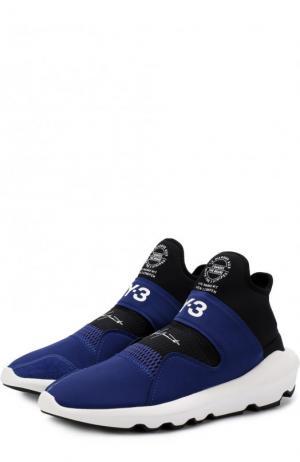 Высокие текстильные кроссовки Suberou Y-3. Цвет: синий