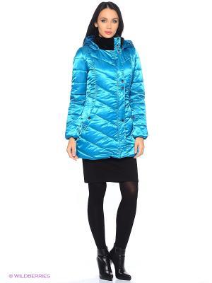 Стеганое пальто DizzyWay. Цвет: бирюзовый
