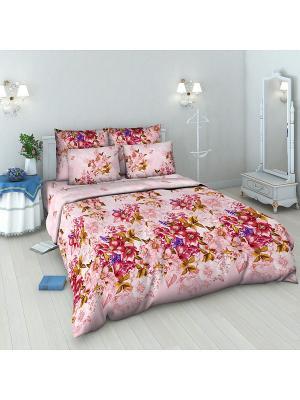 Комплект постельного белья из бязи 1,5 спальный Василиса. Цвет: розовый, фиолетовый