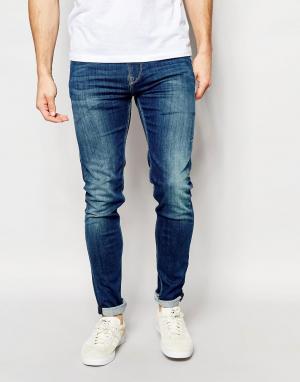 Pepe Heritage Джинсы скинни с эффектом поношенности Jeans Nickle. Цвет: синий