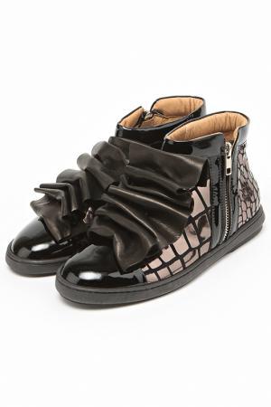 Ботинки с жабо Bouton. Цвет: черный, коричневый