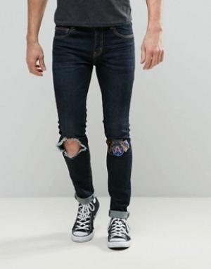 Always Rare Темные супероблегающие джинсы с нашивками на колене Dexter. Цвет: темно-синий