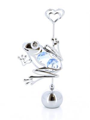 Держатель для визиток  Весёлая лягушка серебристого цвета с голубыми кристаллами CRYSTOCRAFT. Цвет: серебристый