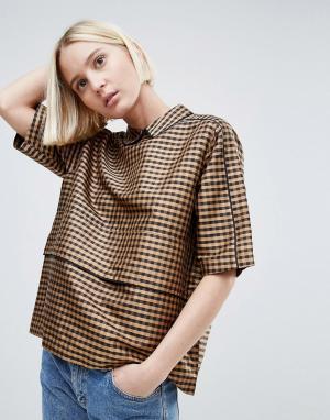 Ganni Шелковая блузка. Цвет: коричневый