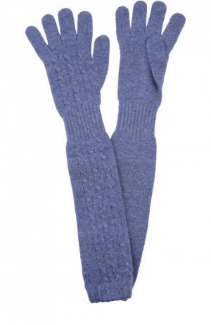 Удлиненные перчатки из кашемира Kashja` Cashmere. Цвет: голубой