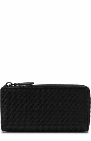 Кожаное портмоне на молнии Ermenegildo Zegna. Цвет: черный