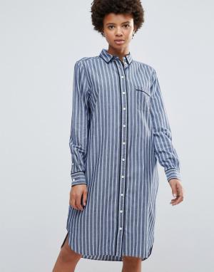 Ganni Платье-рубашка в полоску Sophie. Цвет: синий