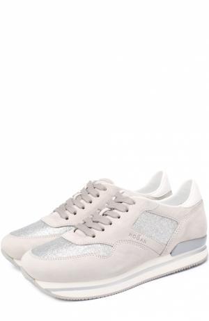 Замшевые кроссовки с отделкой из металлизированного текстиля Hogan. Цвет: серый