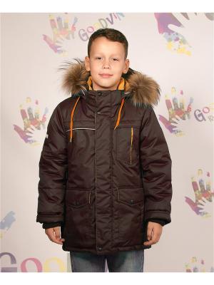Куртка зимняя для мальчика Антон GooDvinKids. Цвет: горчичный, коричневый