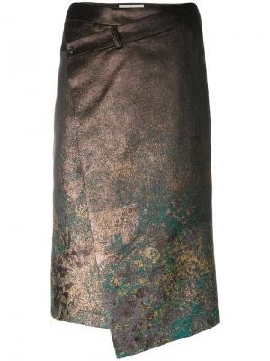 Асимметричная фактурная юбка A.F.Vandevorst. Цвет: металлический