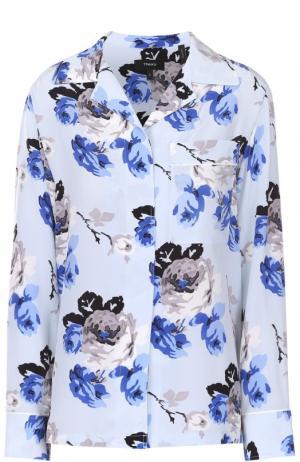 Шелковая блуза в пижамном стиле с цветочным принтом Theory. Цвет: разноцветный