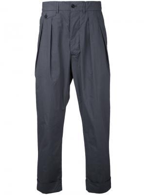 Укороченные брюки со складками Wooster + Lardini. Цвет: серый
