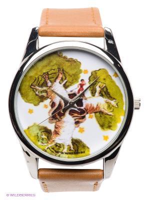 Часы Принц и баобабы Mitya Veselkov. Цвет: коричневый, серебристый, белый, зеленый