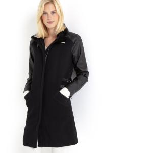 Пальто из двух материалов (50% шерсти) R essentiel. Цвет: черный