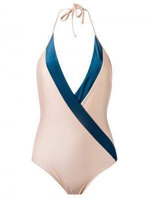 Слитный купальник с глубоким V-образным вырезом Adriana Degreas. Цвет: телесный