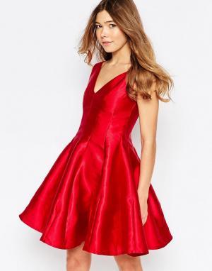 Girl In Mind Короткое приталенное платье с юбкой-годе Aggie. Цвет: красный