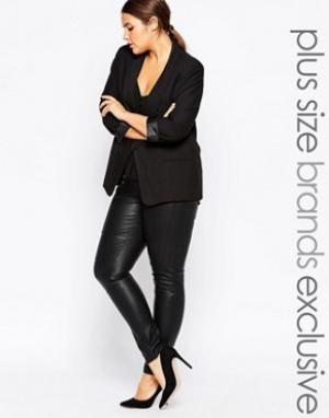 Carmakoma Облегающие брюки в кожаном стиле. Цвет: черный