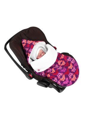 Конверт для новорождённого в автокресло Кашемировые бабочки (демисезонный) MIKKIMAMA. Цвет: сиреневый,оранжевый,розовый