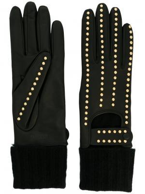 Перчатки с заклепками Moschino. Цвет: чёрный