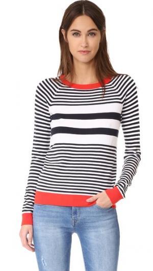 Полосатый свитер с округлым вырезом 525 America. Цвет: яркий тамале комбо
