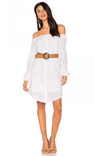 Long sleeve off the shoulder tunic dress three dots. Цвет: белый
