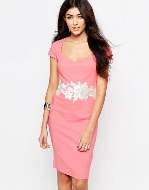 Paper Dolls Платье-футляр с кружевной отделкой. Цвет: розовый