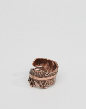 Icon Brand Золотистое кольцо с дизайном в виде пера. Цвет: золотой