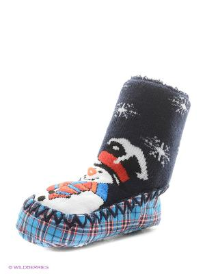 Тапочки-носки противоскользящие BROSS. Цвет: темно-синий