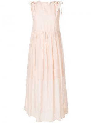 Расклешенное платье с завязкой Semicouture. Цвет: розовый и фиолетовый