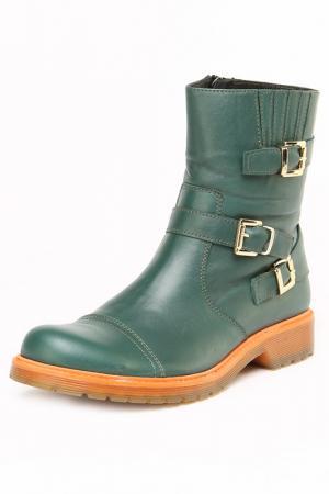 Ботинки утепленные, байка OSSO. Цвет: зеленый
