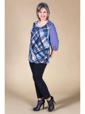 Блузка Милада. Цвет: синий, серый